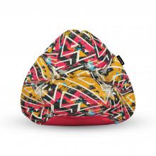 Fotoliu Units Puf (Bean Bags) tip para, impermeabil, cu maner, 100x80x70 cm, graffiti grunge geometric