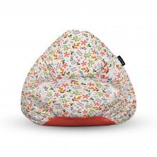 Fotoliu Units Puf (Bean Bags) tip para, impermeabil, cu maner, alb cu flori multicolore
