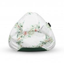 Fotoliu Units Puf (Bean Bags) tip para, impermeabil, cu maner, floral alb