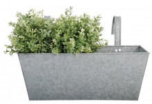 Jardiniera argintie cu manere din metal