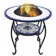 Masa cu vatra de foc, mozaic, albastru si alb, 68 cm, ceramica