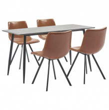 Set mobilier bucatarie, 5 piese, coniac, piele ecologica