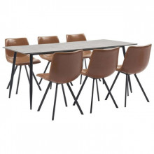 Set mobilier bucatarie, 7 piese, coniac, piele ecologica