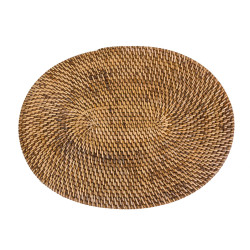 The Colonial Oval Placemat - Natural Brown, Bazar Bizar,