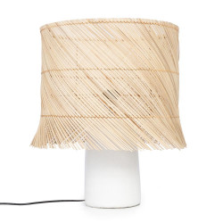 The Rattan Table Lamp - White Natural, , 40