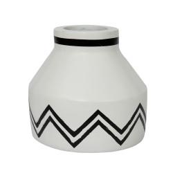 The Santorini Conic Vase - White Black, ,