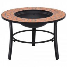 Vatra de foc cu mozaic, caramiziu, 68 cm, ceramica