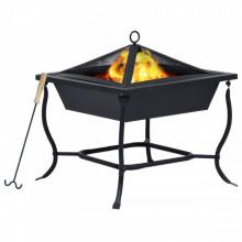 Vatra de foc, negru, 45 x 45 x 45 cm, otel