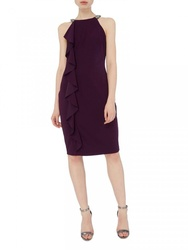 Shift Dress With Embellished Neck And Ruffle