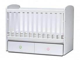Бебешка кошара Тони 60/120 с подвижна решетка бяла с матрак