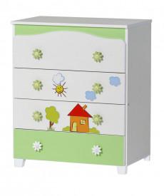 Скрин Ливио с апликация къща бял+зелен