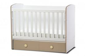 бебешка кошара Тони 60/120 с подвижна решетка бял+капучино с матрак