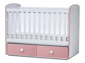 бебешка кошара Тони 60/120 с подвижна решетка бял+розов с матрак