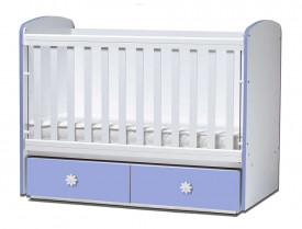 бебешка кошара Тони 60/120 с подвижна решетка бял+син + матрак