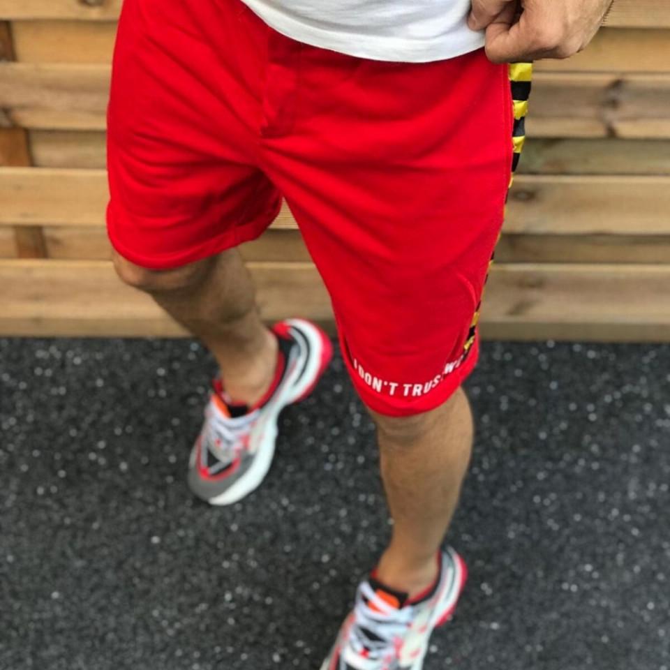 Pantaloni scurti barbati, rosii, cu dungi laterale, ISAHAR
