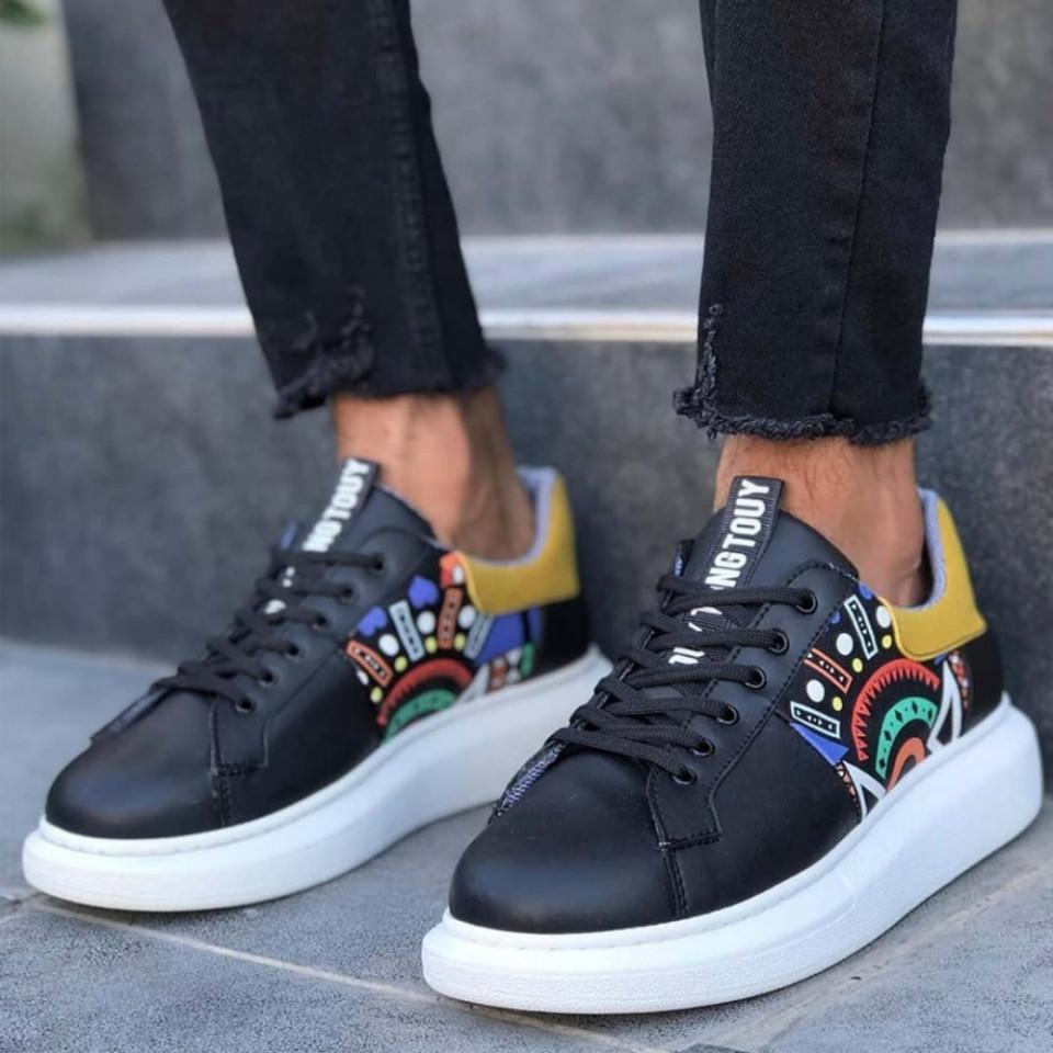 Pantofi sport barbati,culoare negri, interior bumbac, talpa spuma, ISAHAR