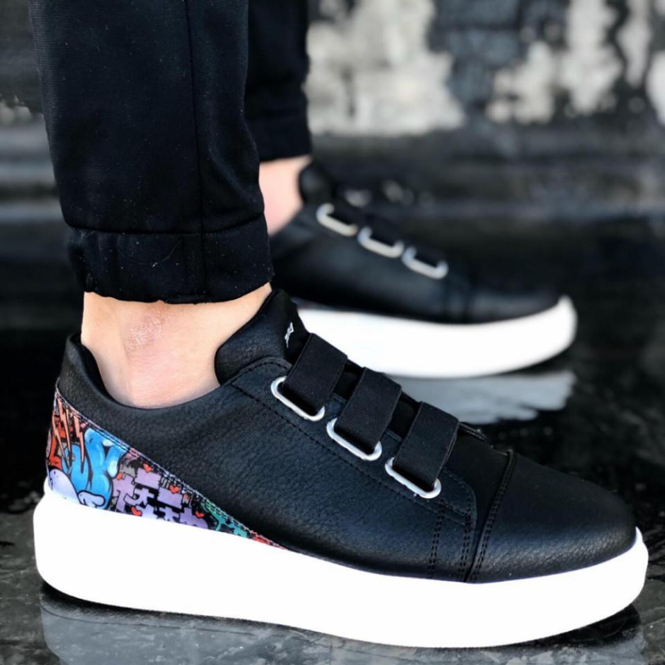 Pantofi sport barbati negri, cu talpa din spuma, confectionati din piele ecologica