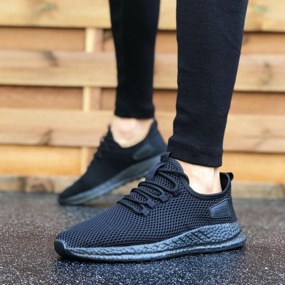 Pantofi sport negri, cu siret si talpa flexibila din spuma