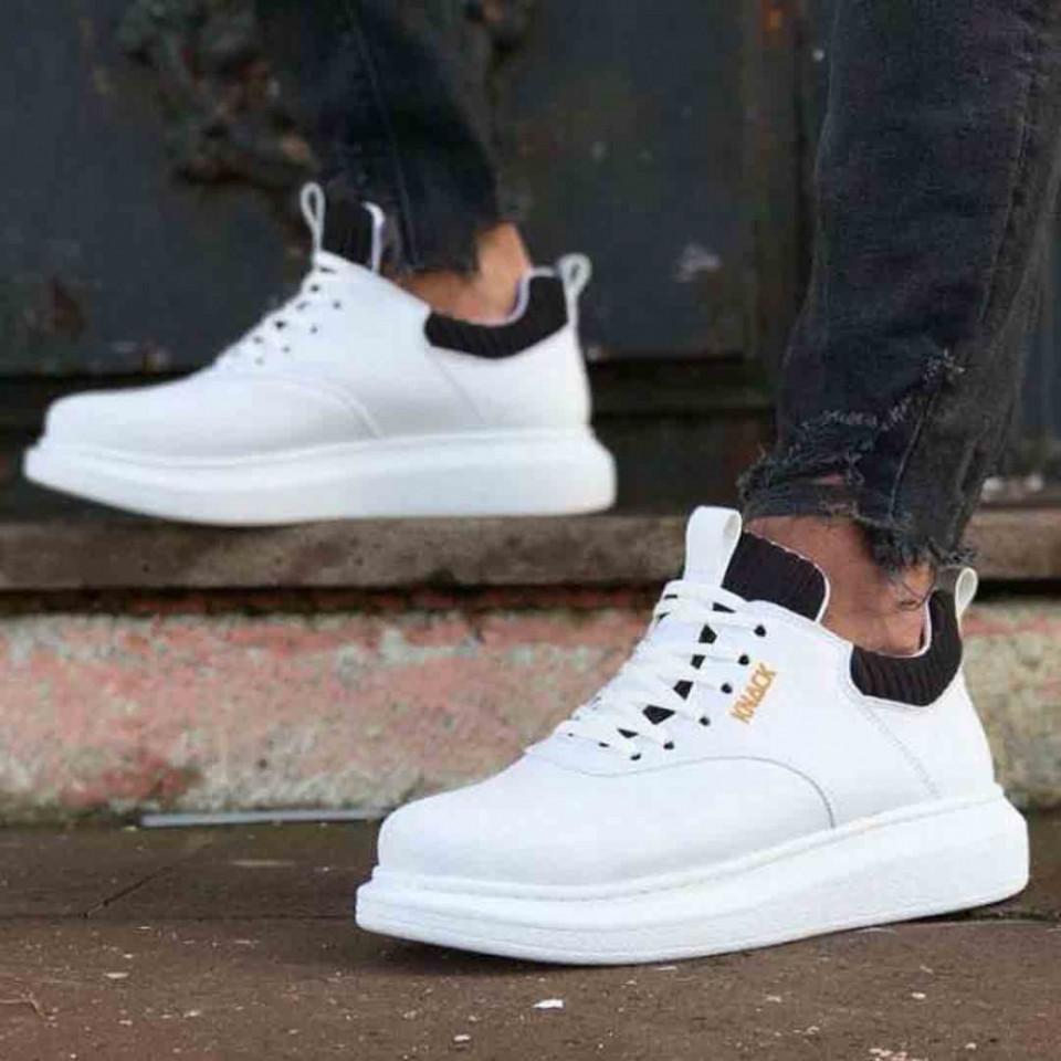 Sneakers barbati premium, albi, talpa din spuma cusuta, model SNK, ISAHAR