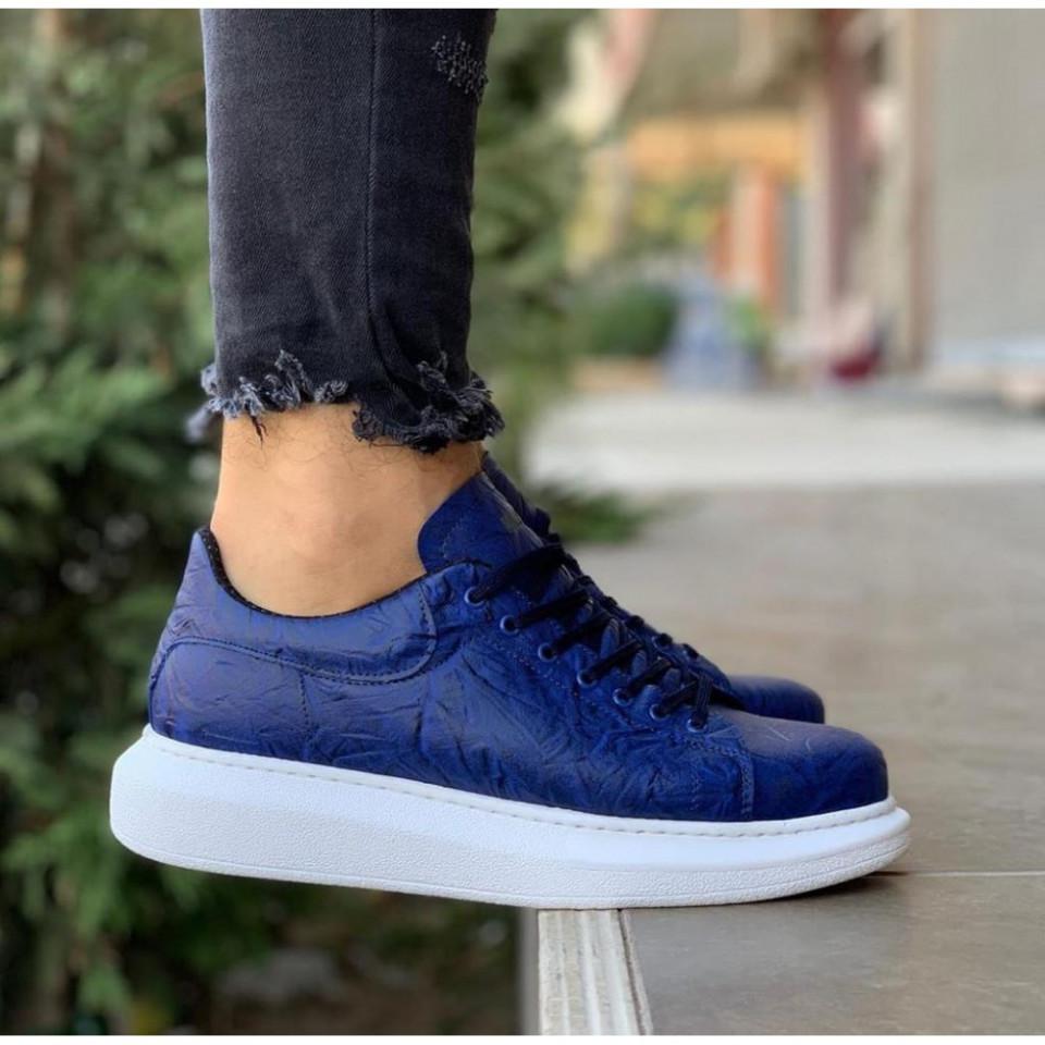 Pantofi sport barbati, albastri, cu talpa din spuma, cusuta