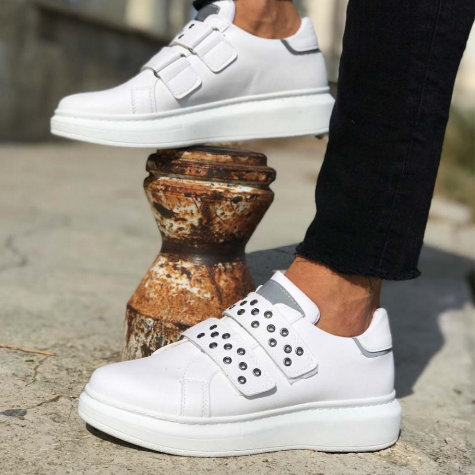 Pantofi sport barbati, albi, inchidere arici SNK, usor de incaltat, ISAHAR