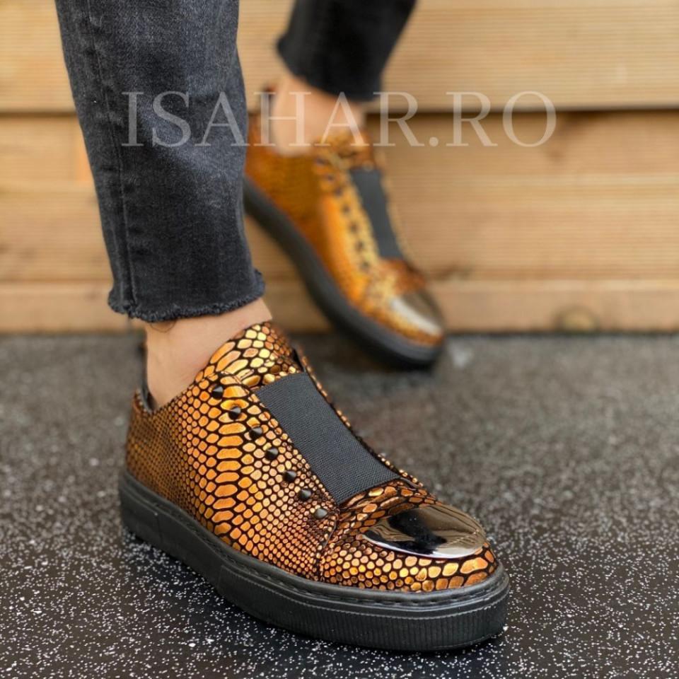 Pantofi sport barbati aurii, un model special, premium pentru evenimente speciale, ISAHAR