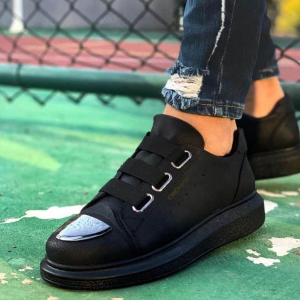 Pantofi sport barbati, cu 3 barete elastice, negri, ISAHAR