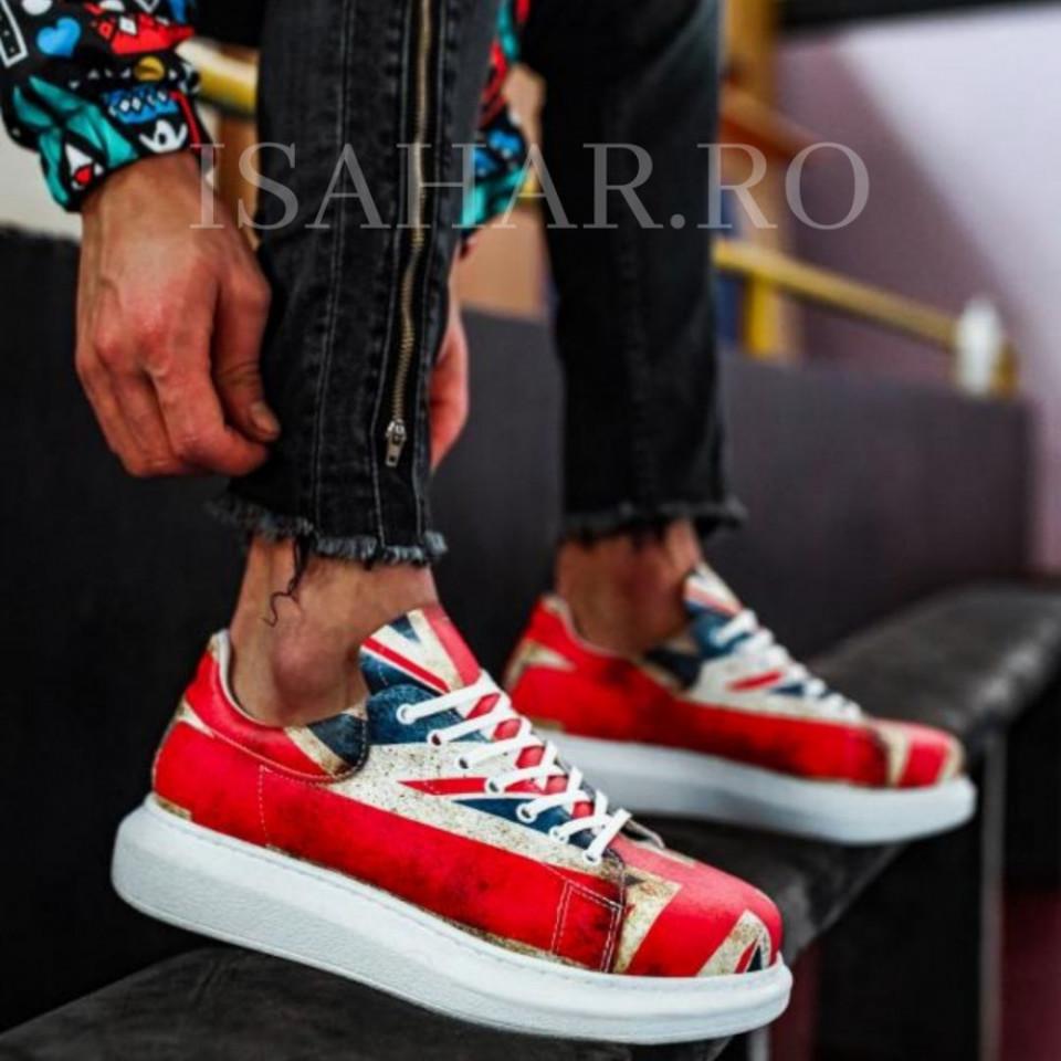 Pantofi sport barbati, cu imprimeu colorat si talpa din spuma, ISAHAR
