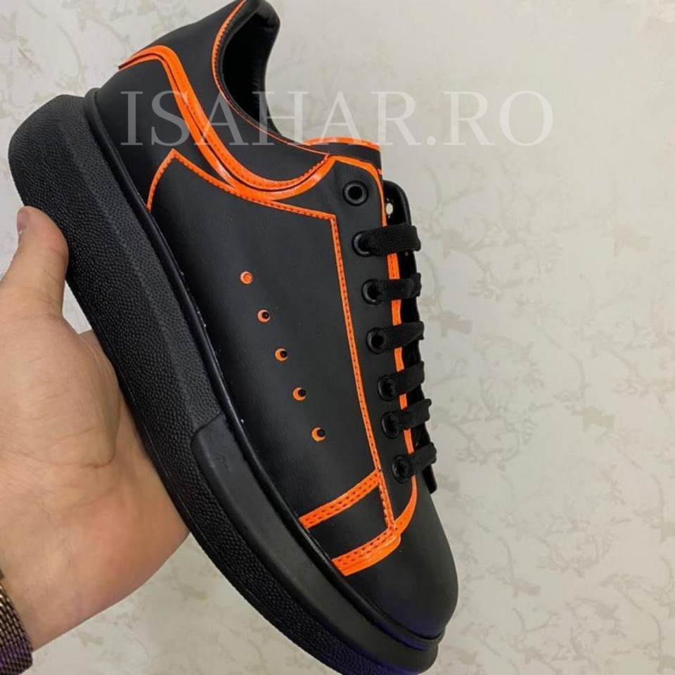 Pantofi sport barbati, negri, cu aplicatii colorate, ISAHAR