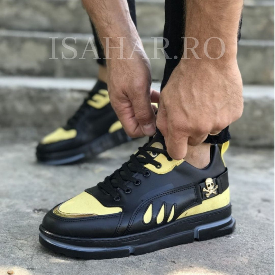 Pantofi sport barbati, negri, talpa flexibila, premium VRS, cu aplicatii aurii, ISAHAR