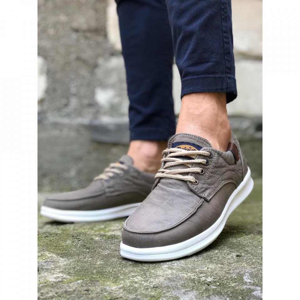 Pantofi sport casual gri, cu siret si talpa din spuma
