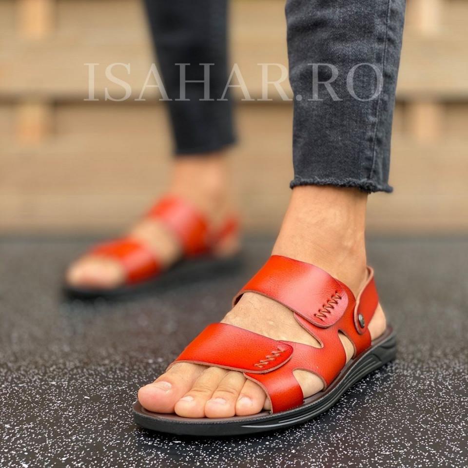 Sandale barbati, casual maro caramel, ISAHAR
