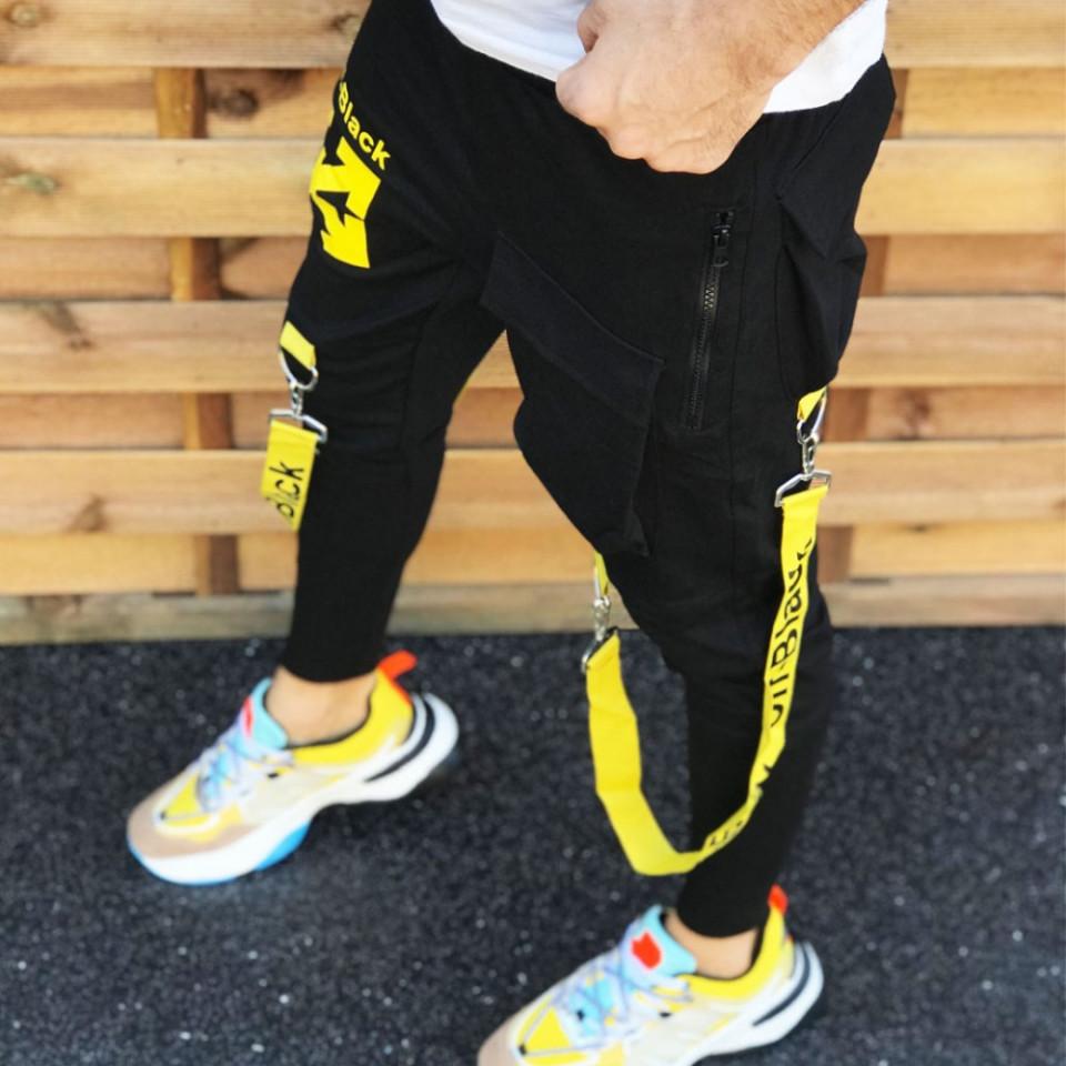 Pantaloni barbati din bumbac de inalta calitate, croiala conici, imprimeu 3D, ISAHAR