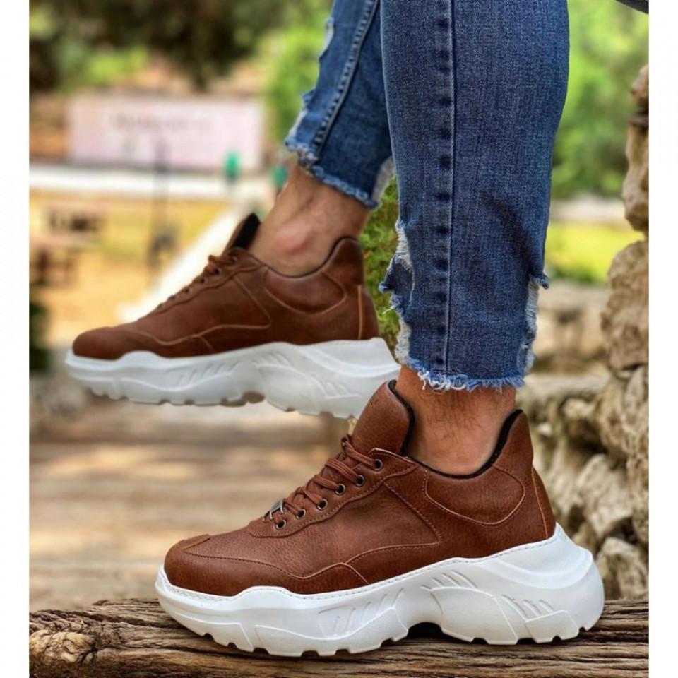 Pantofi sport maro, casual, cu talpa inalta din spuma