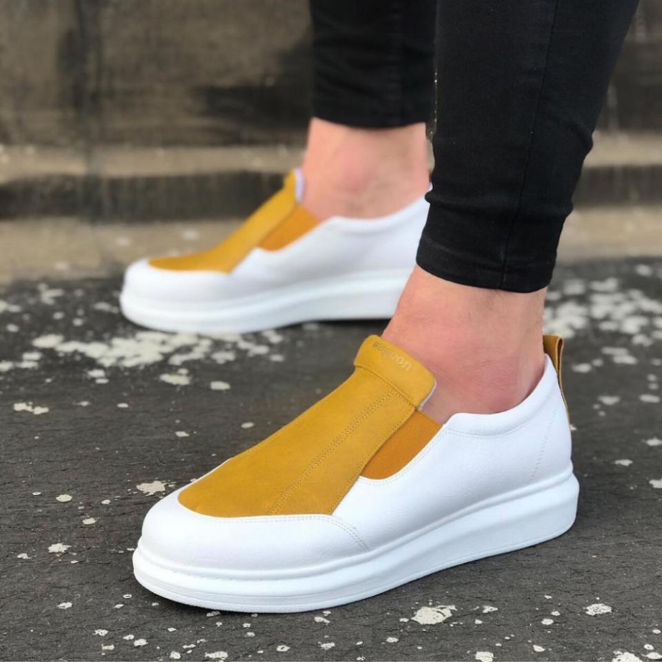 Pantofi sport barbati, albi, cu aplicatii galbene, ISAHAR