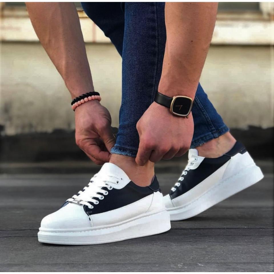 Pantofi sport barbati, albi cu aplicatii negre, talpa inalta, usoara si cusuta