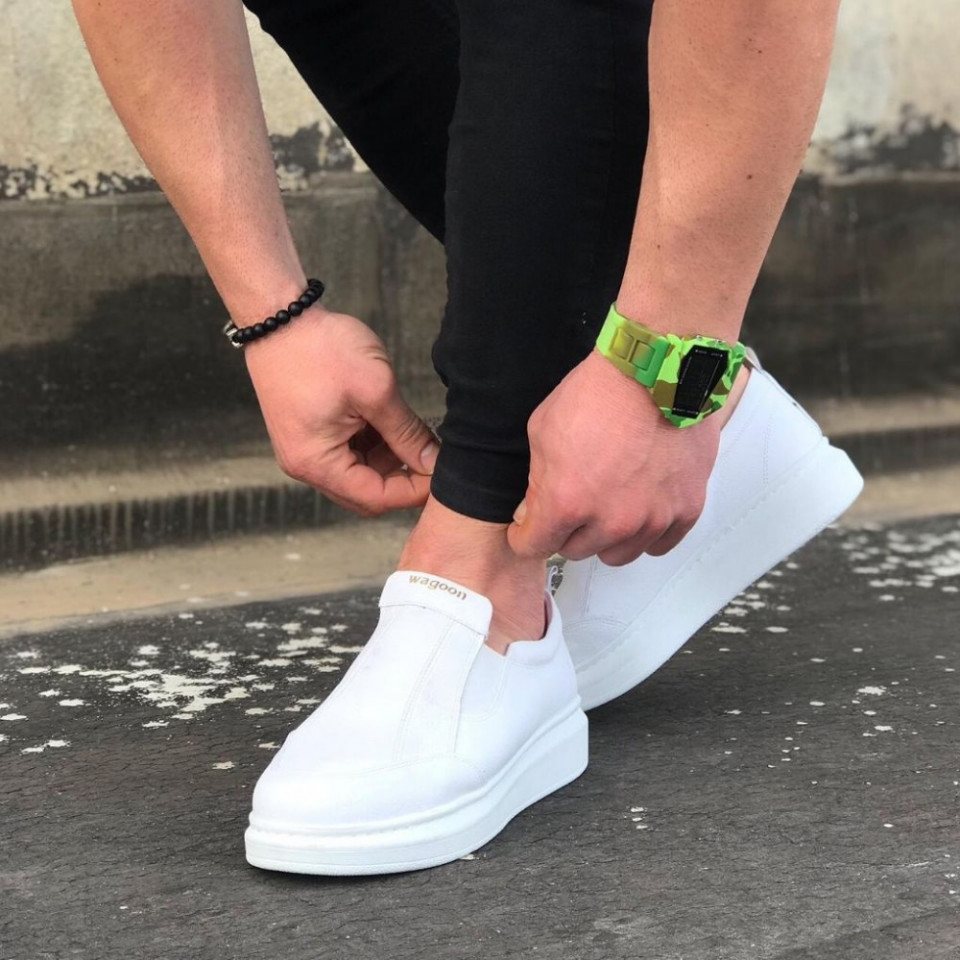 Pantofi sport barbati, albi, cu talpa inalta din spuma, ISAHAR