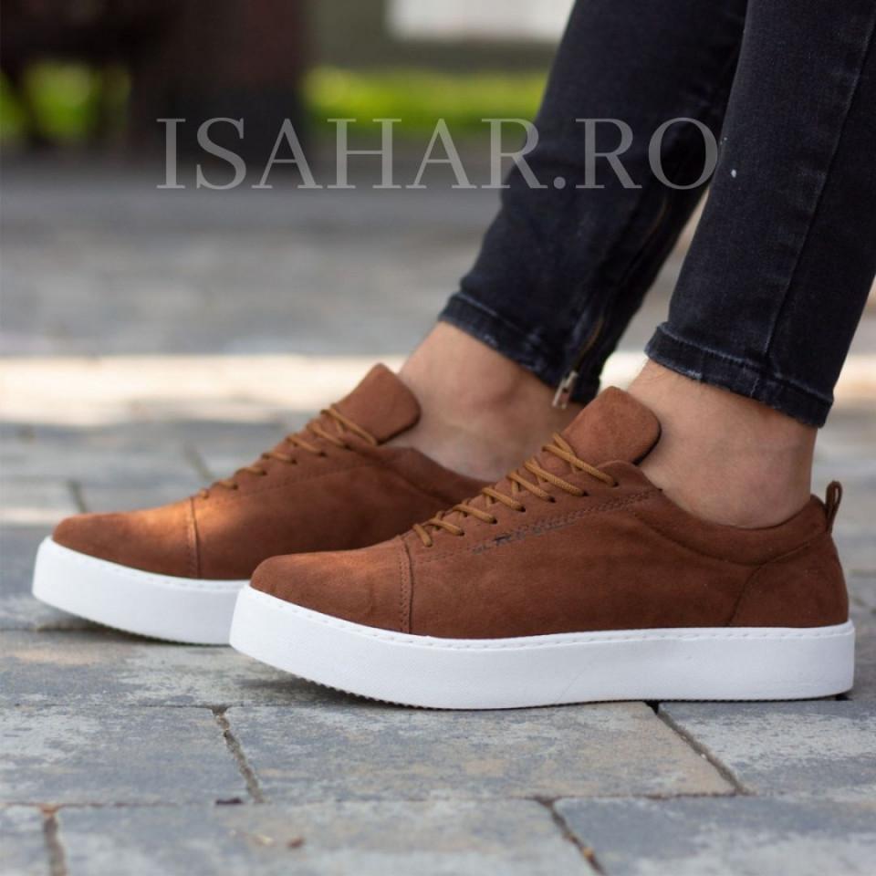 Pantofi sport barbati, maro, talpa neagra, model special, casual, ISAHAR