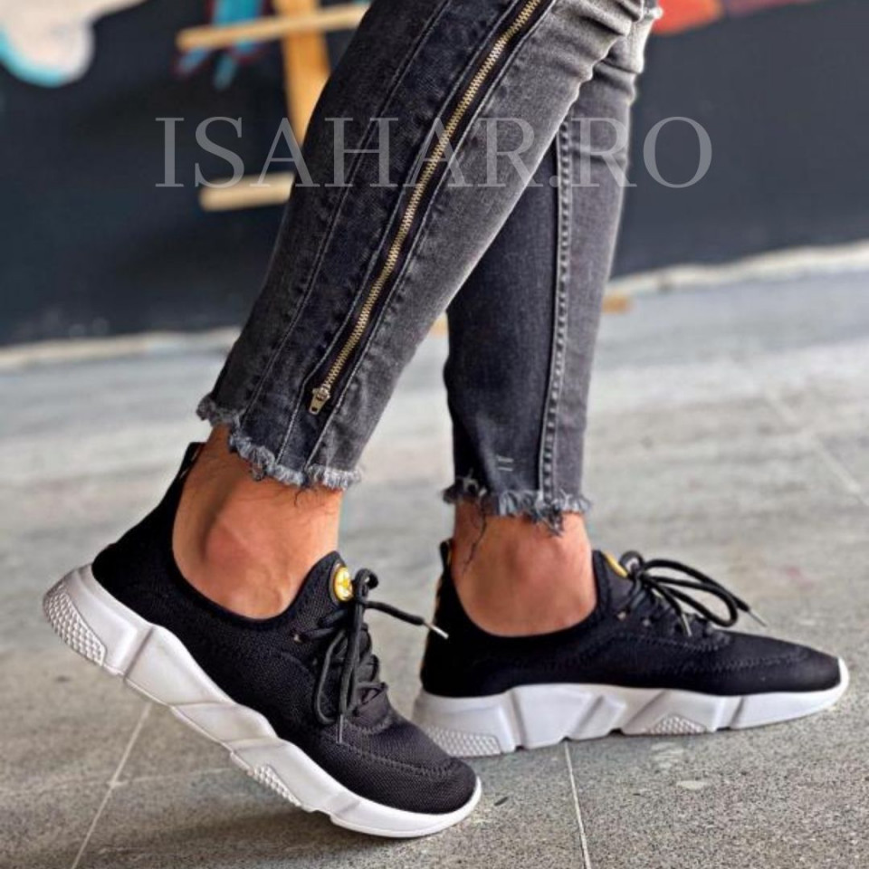 Pantofi sport negri, casual, cu talpa alba, foarte usori, ISAHAR