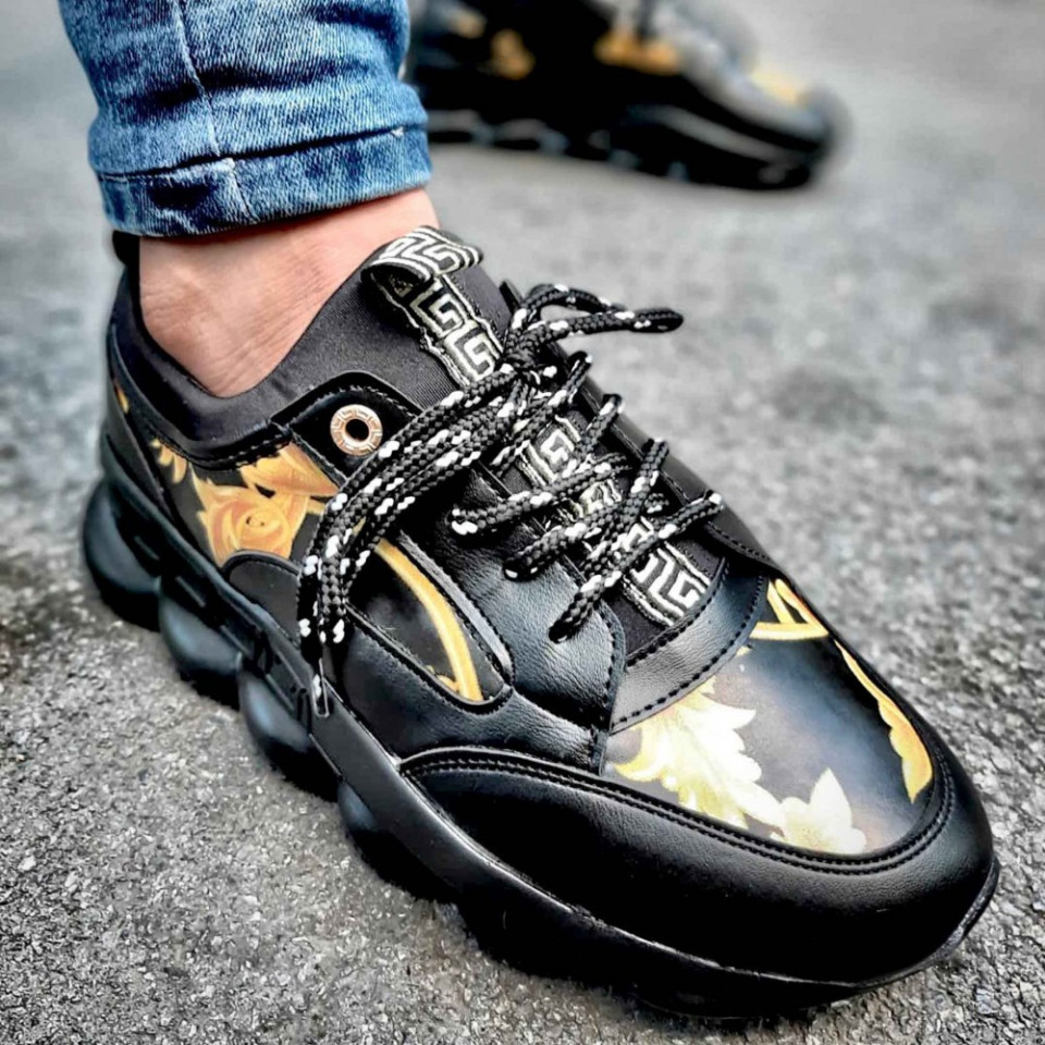 Pantofi sport negri, talpa din spuma, cu siret, ISAHAR