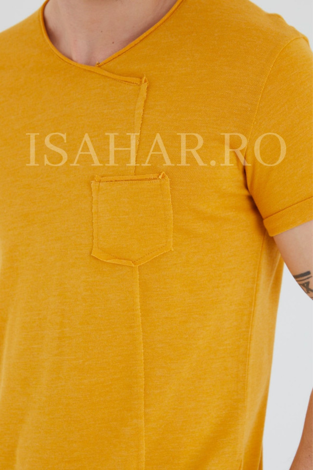 Tricou barbati elegant, culoare mustar, BREEZY, material premium , ISAHAR