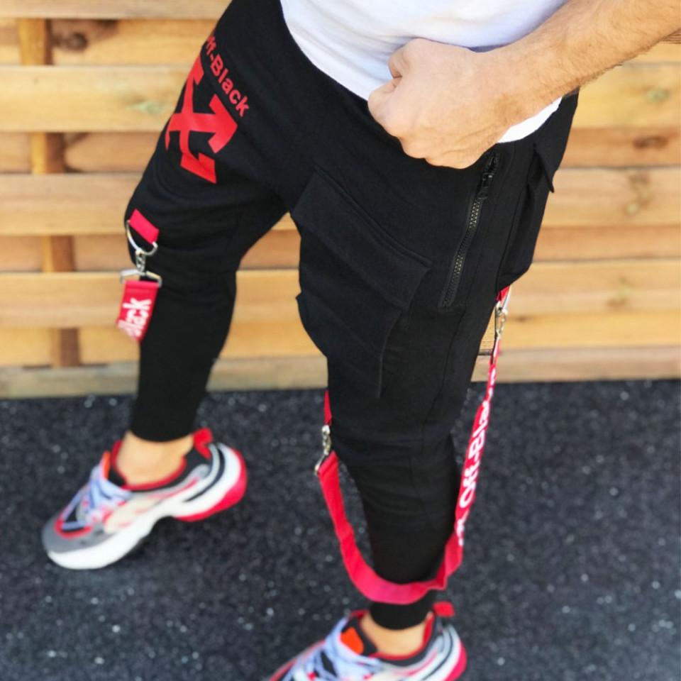 Pantaloni barbati cambrati, model casual, material bumbac, aplicatie pe picior, ISAHAR