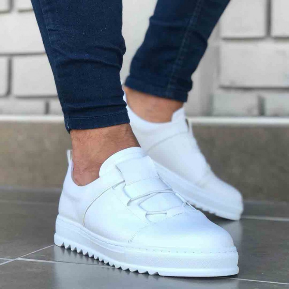 Pantofi sport barbati, albi, confectionati din piele ecologica, fara siret