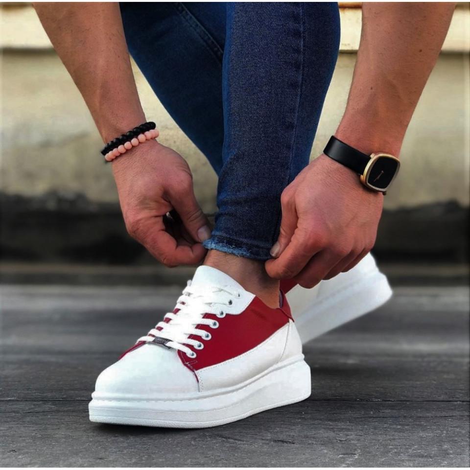 Pantofi sport barbati, albi cu aplicatii rosii, talpa usoara si cusuta