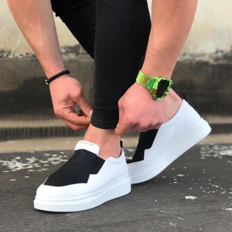 Pantofi sport barbati, albi, usor de incaltat cu aplicatii negre, ISAHAR