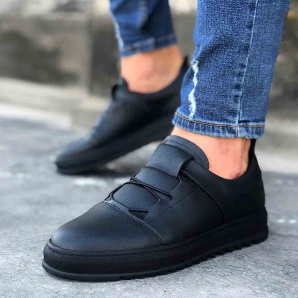 Pantofi sport barbati casual negri, fara siret, cu talpa din spuma