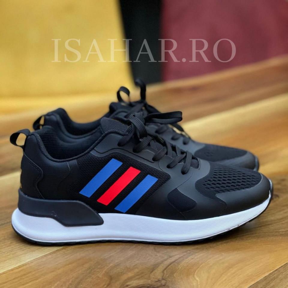 Pantofi sport barbati, foarte usori si comozi, negri,cu aplicatii colorate, ISAHAR