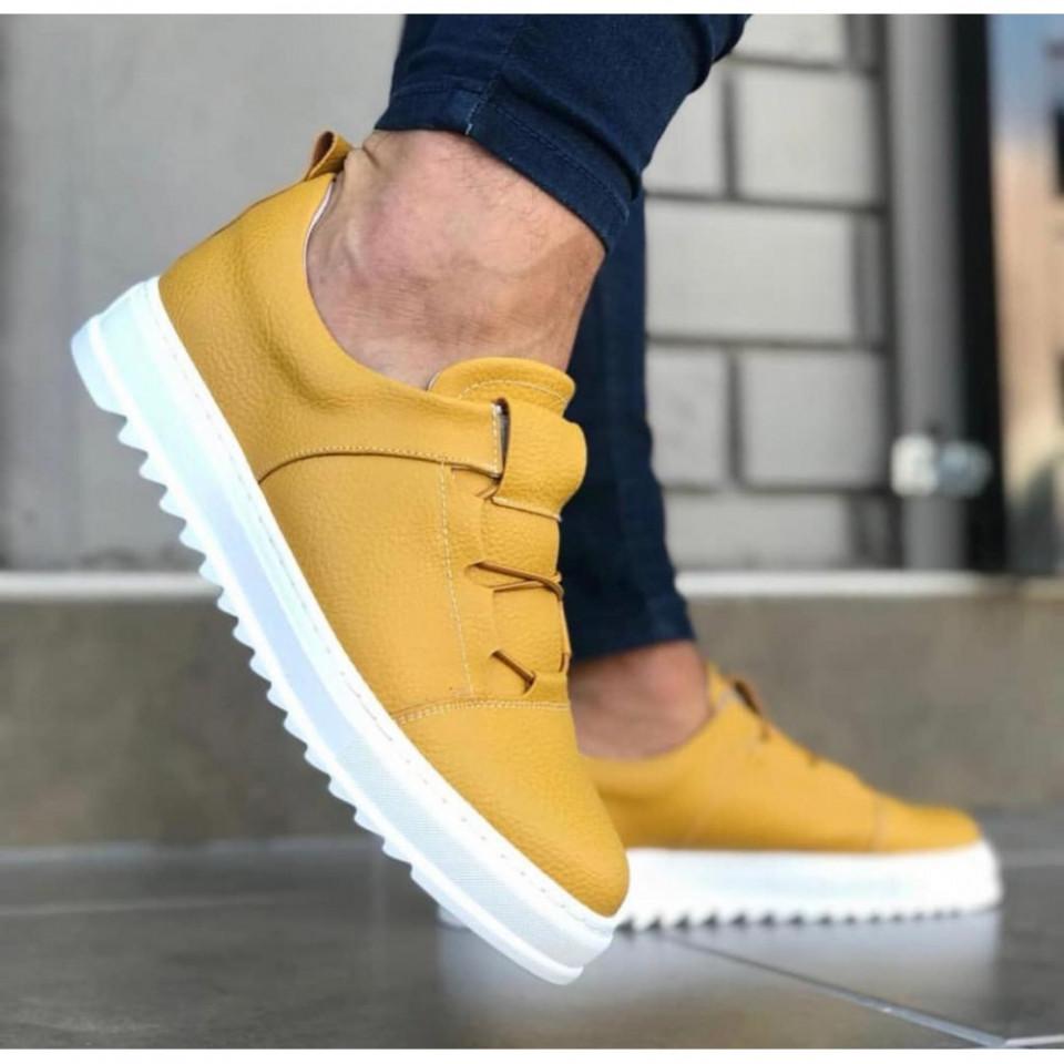 Pantofi sport barbati, galbeni, confectionati din piele ecologica, talpa cusuta