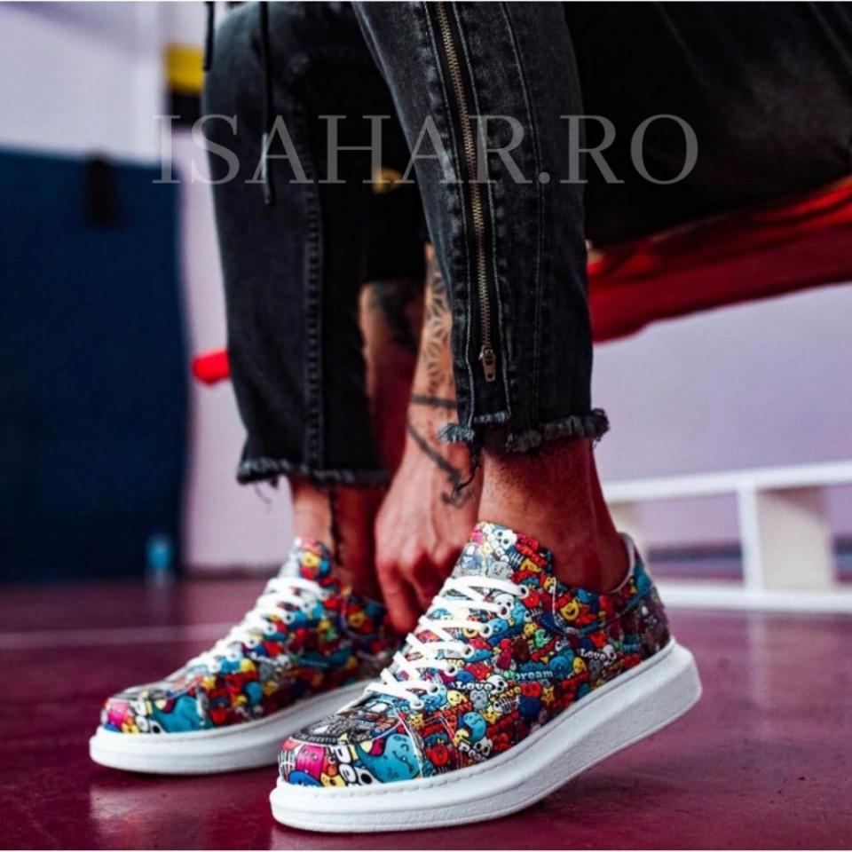 Pantofi sport barbati, model casual, cu imprimeu multicolor, ISAHAR