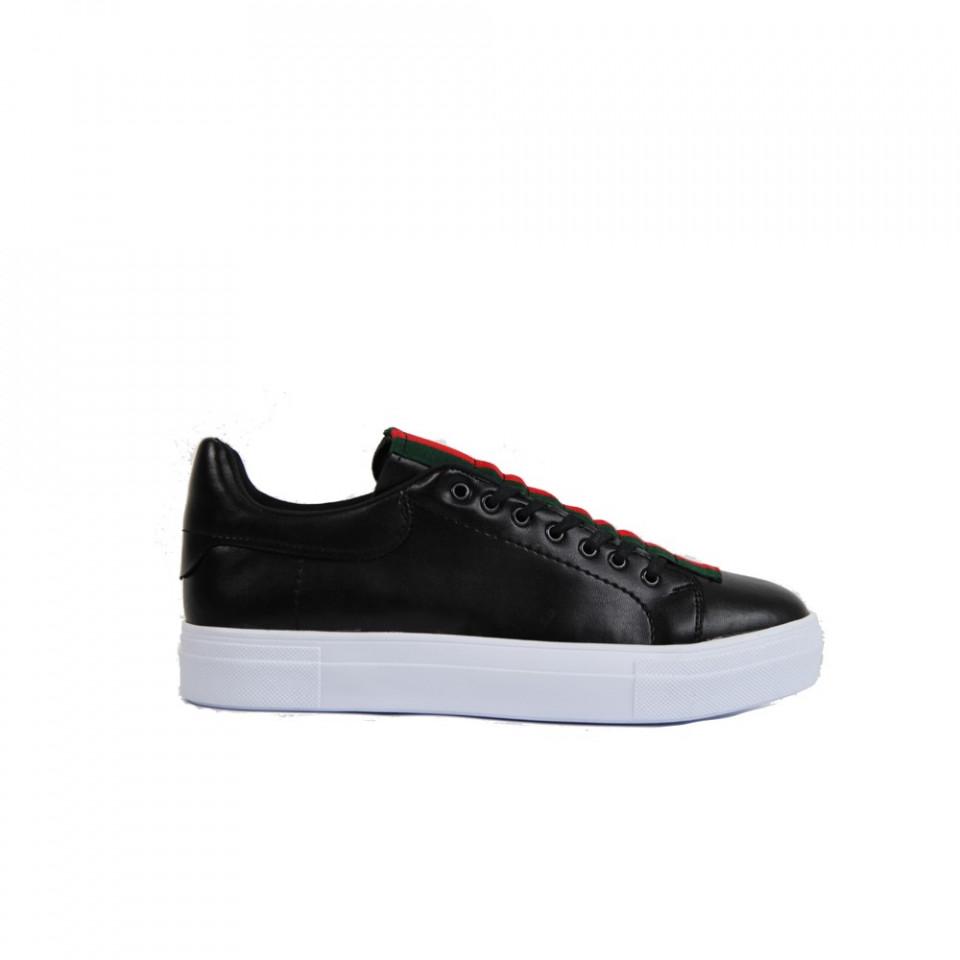 Pantofi sport barbati, negri, cu talpa cusuta, usori si comozi